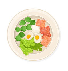 Salmon slices with boiled eggs served on plate vector