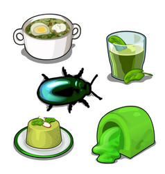Scarab and set of food set isolated vector