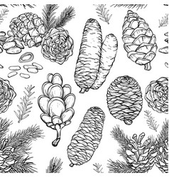 seamless pattern with hand drawn rustic natural vector image