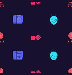 Set alien cartridge game dice and computer vector