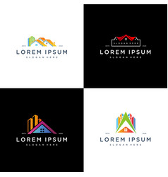 Set colorful house building logo icon design vector