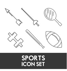 Set flat icon tools sport vector