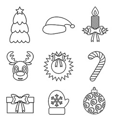 Set of Christmas icons outline Isolated vector image