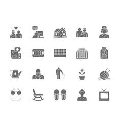 Set of nursing home grey icons pensioner vector