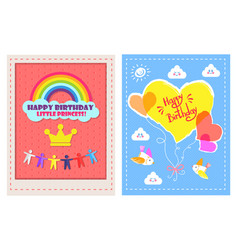 Set of posters happy birthday little princess vector