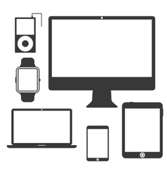 set silhouette devices vector image