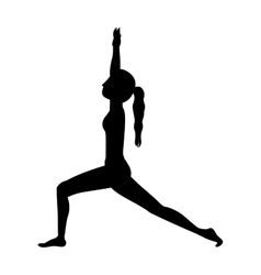 Silhouette yoga high lunge crescent vector