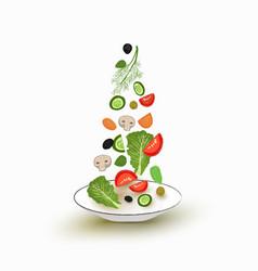 Sliced vegetables falling into a salad bowl a set vector