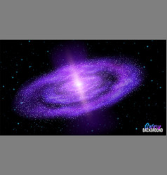 Spiral galaxy in outer space with stars colorful vector