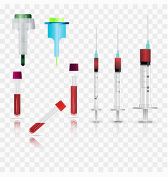 Syringes vials and lancets realistic vector