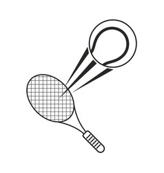 Tennis ball racket sport icon thin line vector