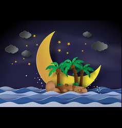 the island in the midnight with half moonpaper vector image
