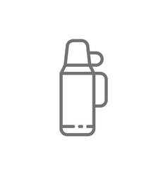 Thermos with a cup line icon vector