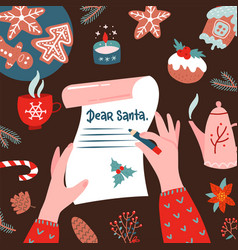 tho female hands writhd a letter to santa claus vector image
