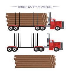 Timber carrying vessel special cargo vehicle for vector
