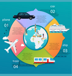transportation infographic different types of vector image