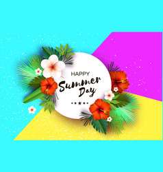 Tropical summer palm leaves plants flowers vector