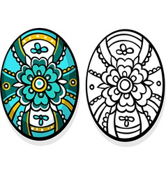 turquoise easter egg - coloring book vector image