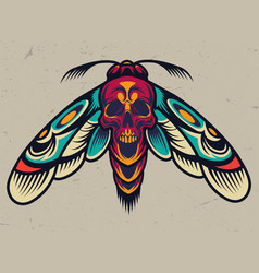 Vintage colorful scary moth vector
