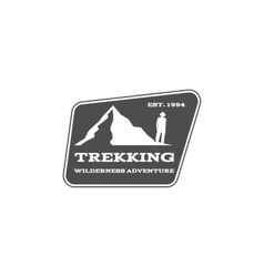 Vintage mountain hiking trekking camp logo vector