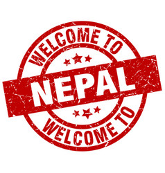 Welcome to nepal red stamp vector