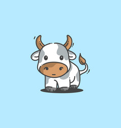 white cute little cow vector image