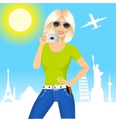 Woman holding taking a picture vector