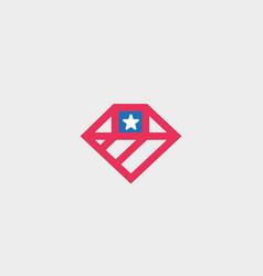 american flag diamond logo design us national gem vector image vector image