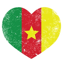 Cameroon retro heart shaped flag vector image vector image