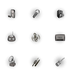 Device for music icons set pop-art style vector image