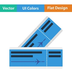 Flat design icon of airplane tickets vector image vector image