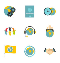 Global comunity icon set flat style vector