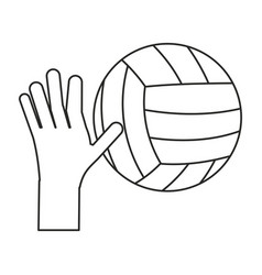 hand holding volleyball ball sport thin line vector image