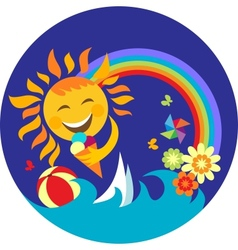happy sun holding ice cream vector image
