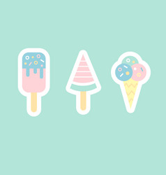 ice cream flat sticker cons vector image vector image
