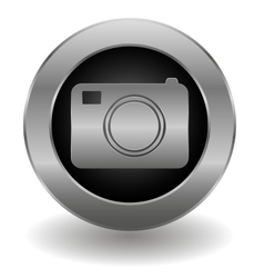 Metallic camera button vector image vector image