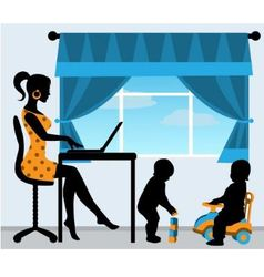mother and two children in the room vector image vector image