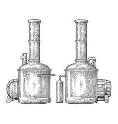 Row of tanks and wooden barrel in brewery beer vector