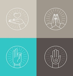 set of linear icons vector image vector image