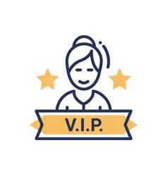 Vip person - modern single line icon vector