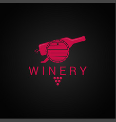 wine bottle and barrel logo winery design with vector image vector image