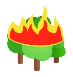 Burning forest trees icon isometric 3d style vector image