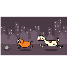 Dog chasing cat vector image vector image