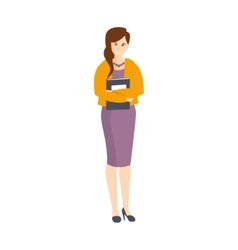 Girl In Purple Dress And Orange Cardigan Holding vector image vector image