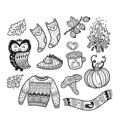 ink autumn collection elements in cartoon comic vector image