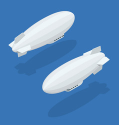 isometric dirigible in flight icons collection on vector image