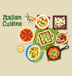 italian cuisine icon with pasta and lasagna vector image vector image
