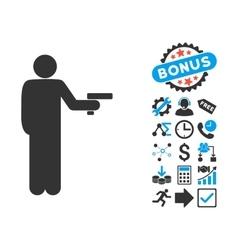 Robber with gun flat icon with bonus vector