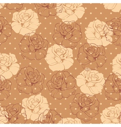 Seamless brown dots and roses floral pattern vector image vector image