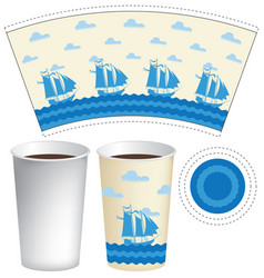 template paper cup with sailing ships in the sea vector image vector image